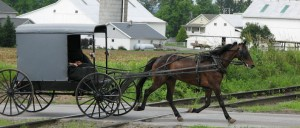 Amish buggy crossing RR tracks