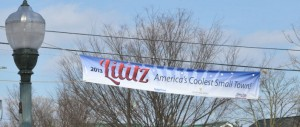 'Coolest Small Town' banner over Lititz, PA