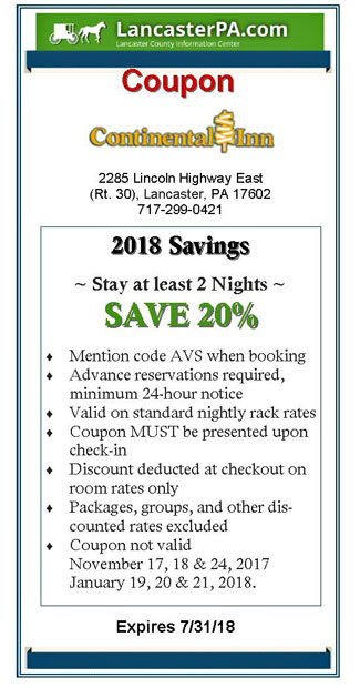 Continental Inn Coupon 2018